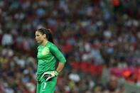 LONDON, ENGLAND - AUGUST 09: Goalkeeper Hope Solo #1 of United States looks on in the second half against Japan during the Women's Football gold medal match on Day 13 of the London 2012 Olympic Games at Wembley Stadium on August 9, 2012 in London, England. (Photo by Ronald Martinez/Getty Images)