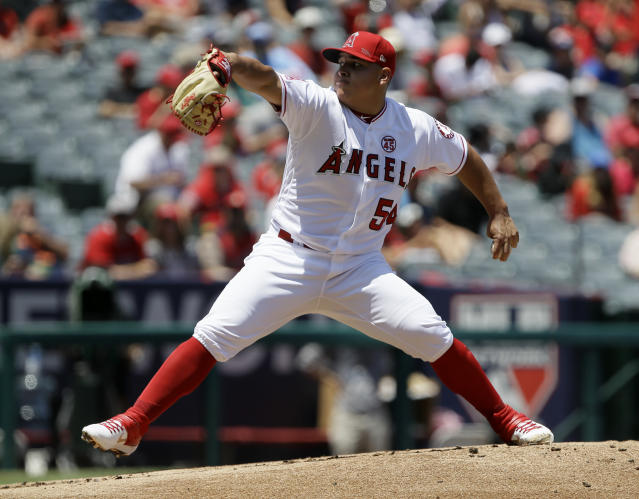 Los Angeles Angels starting pitcher Jose Suarez throws to a Detroit Tigers batter during the first inning of a baseball game in Anaheim, Calif., Wednesday, July 31, 2019. (AP Photo/Alex Gallardo)