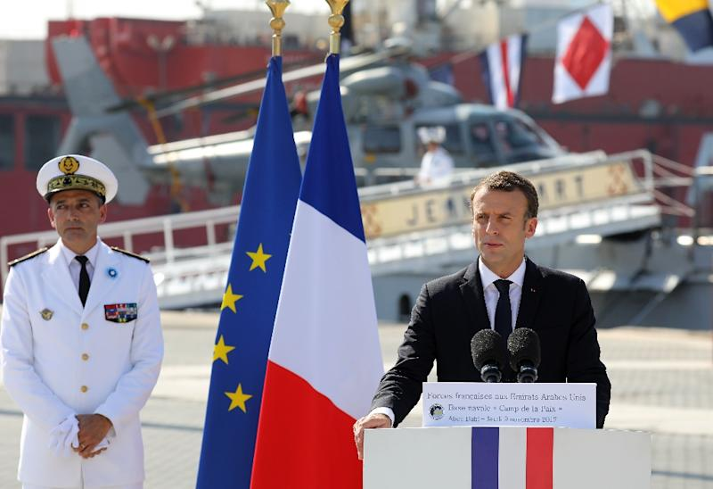 French President Emmanuel Macron says the Islamic State group faces complete military defeat in Iraq and Syria within months but warns the battle against jihadism will go on in a speech to French naval personnel in Abu Dhabi on November 9, 2017