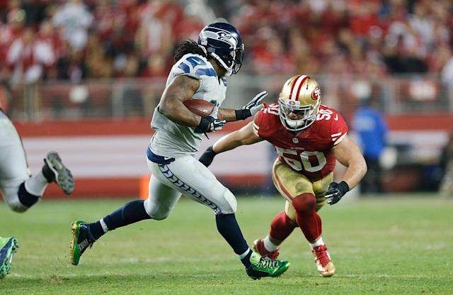 Chris Borland (50) retired after his rookie season with the San Francisco 49ers over concerns about CTE. (Getty)