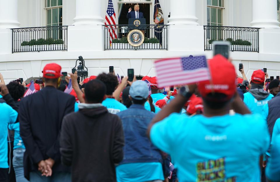 President Donald Trump speaks from the South Portico of the White House in Washington, DC during a rally on October 10, 2020.