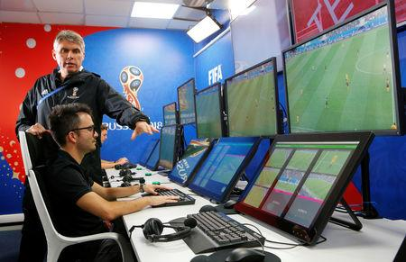 FILE PHOTO: FIFA VAR Refereeing Project Leader Rosetti demonstrates a video operation room in Moscow