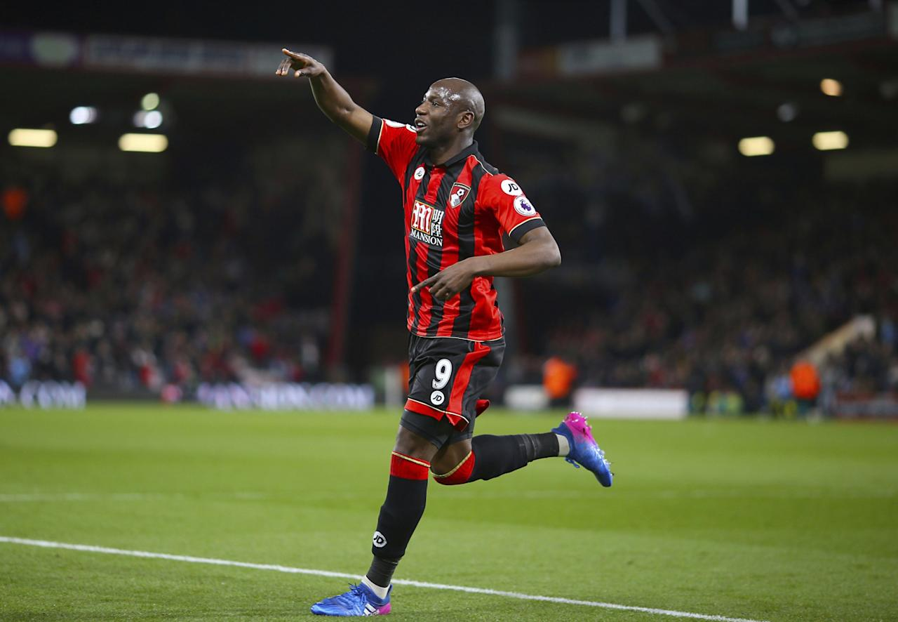 <p>AFC Bournemouth's Benik Afobe celebrates scoring his side's second goal against Swansea City during the English Premier League soccer match at the Vitality Stadium, </p>