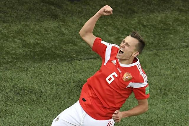 Denis Cheryshev scored his third goal of the World Cup as Russia closed in on qualifying for the knockout rounds (AFP Photo/CHRISTOPHE SIMON)