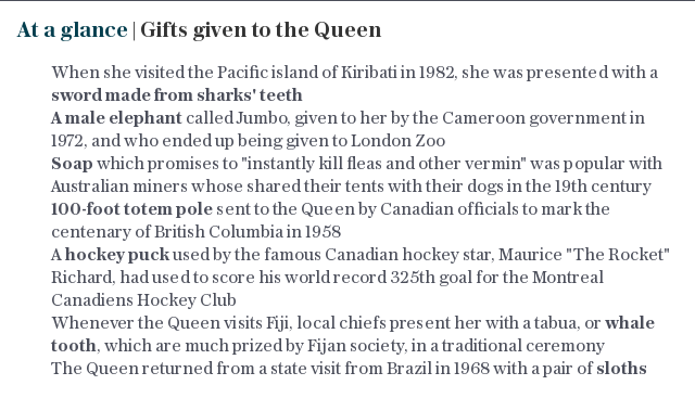 At a glance | Gifts given to the Queen