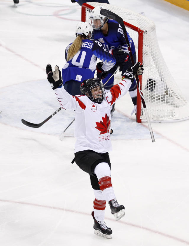 <p>Marie-Philip Poulin (29), of Canada, celebrates after scoring a goal during the second period of the women's gold medal hockey game against the United States at the 2018 Winter Olympics in Gangneung, South Korea, Thursday, Feb. 22, 2018. (AP Photo/Jae C. Hong) </p>