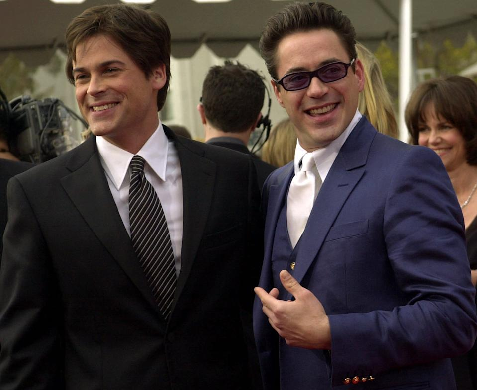"""Rob Lowe and Robert Downey, Jr. arrive at the 7th annual Screen Actors Guild Awards, Sunday, March 11, 2001, in Los Angeles. Lowe is nominated for his role in """"The West Wing"""" and Downey is nominated for his role in """"Ally McBeal."""" (AP Photo/Kevork Djansezian)"""