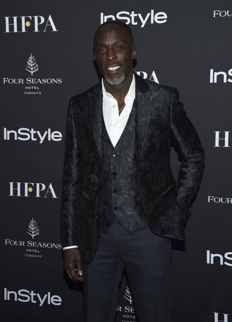 """FILE - In this Saturday, Sept. 8, 2018, file photo, actor Michael K. Williams attends the Hollywood Foreign Press Association/InStyle party on Day 3 of the Toronto International Film Festival at the Four Seasons Hotel Toronto in Toronto. Williams, who played the beloved character Omar Little on """"The Wire,"""" has died. New York City police say Williams was found dead Monday, Sept. 6, 2021, at his apartment in Brooklyn. He was 54. (Photo by Evan Agostini/Invision/AP, File)"""