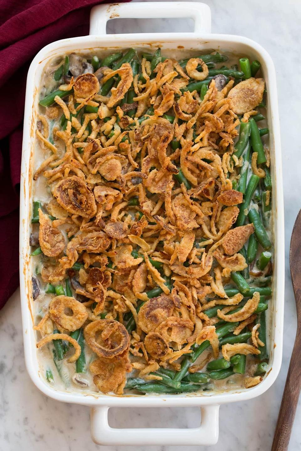 """<p>It doesn't get much more simple and classic than this recipe.</p> <p><strong>Get the recipe:</strong> <a href=""""https://www.cookingclassy.com/green-bean-casserole/"""" class=""""link rapid-noclick-resp"""" rel=""""nofollow noopener"""" target=""""_blank"""" data-ylk=""""slk:classic green bean casserole"""">classic green bean casserole</a></p>"""
