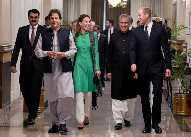 PHOTO: Prince William, Duke of Cambridge and Catherine, Duchess of Cambridge meet with the Prime Minister of Pakistan, Imran Khan, second from left, at his official residence, Oct. 15, 2019 in Islamabad, Pakistan. (Andrew Parsons/Pool via Getty Images)