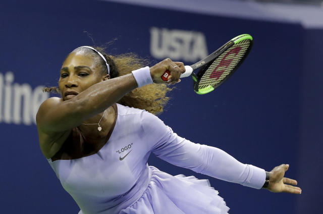 Serena Williams returns a shot to Anastasija Sevastova, of Latvia, during the semifinals of the U.S. Open tennis tournament, Thursday, Sept. 6, 2018, in New York. (AP Photo/Seth Wenig)