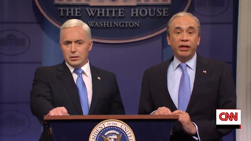 Michael Bloomberg (Fred Armisen) interrupts Mike Pence's (Beck Bennett) White House news conference on the coronavirus to talk about his presidential candidacy in