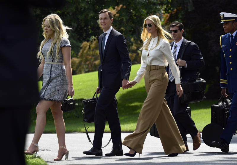 Tiffany Trump left followed by from left Jared Kushner and Ivanka Trump walk to Marine One on the South Lawn of the White House in Washington Friday