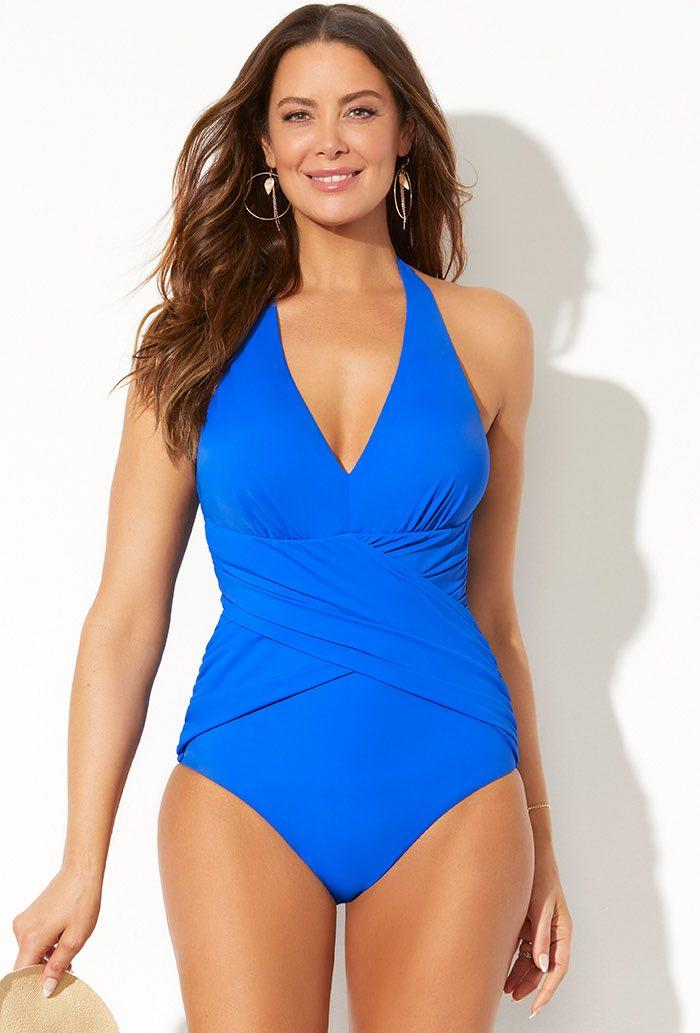 Royal Crossover Halter One Piece Swimsuit. Image via Swimsuits For All.