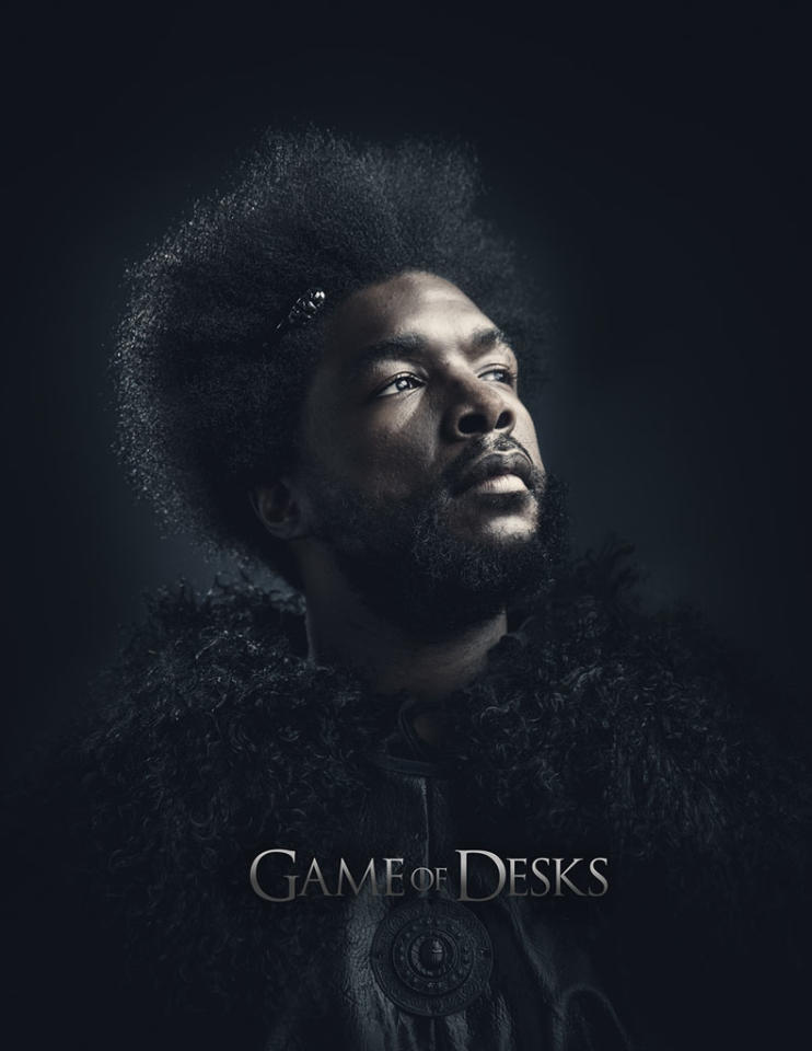 "Ahmir Thompson in ""Game of Desks"" on ""Late Night With Jimmy Fallon."""