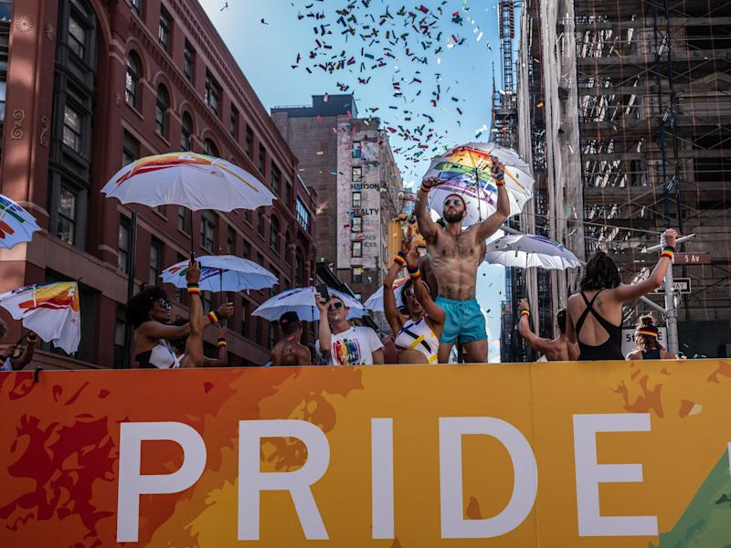 People participate in 2019 NYC WorldPride March in New York City, NY on June 30, 2019. (Photo by Kim Kaye/Sipa USA)