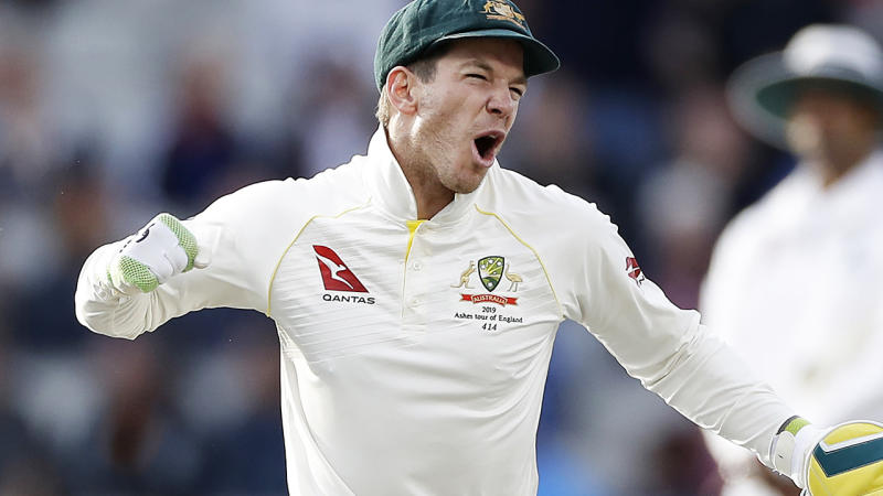 Tim Paine, pictured celebrating victory in the fourth Test, has been praised for a brilliant call to bowl Marnus Labushagne.