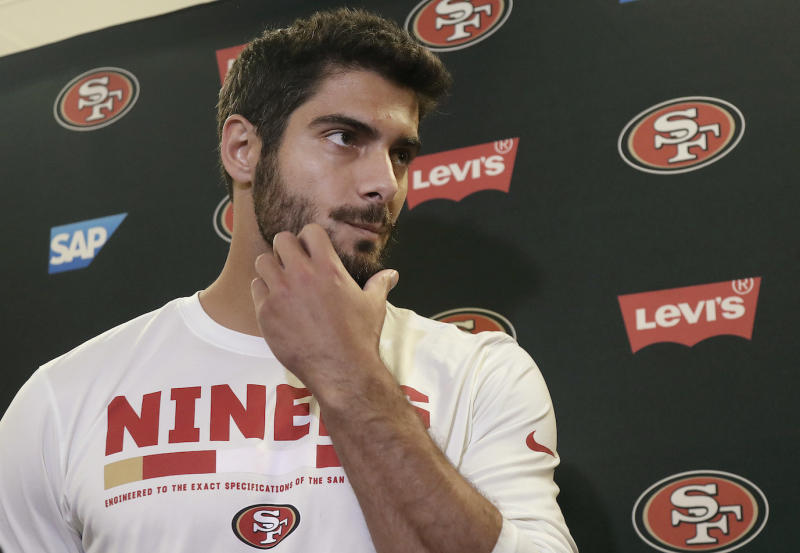 San Francisco 49ers quarterback Jimmy Garoppolo was on point in his team's second preseason game. (AP)