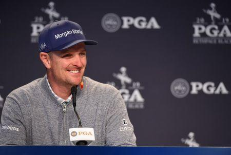 May 15, 2019; Farmingdale, NY, USA; Justin Rose addresses the media during a news conference before the PGA Championship golf tournament at Bethpage State Park - Black Course. Mandatory Credit: John David Mercer-USA TODAY Sports