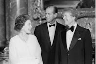 <p>The Queen, Prince Philip, and Jimmy Carter at a dinner at Buckingham Palace.</p>
