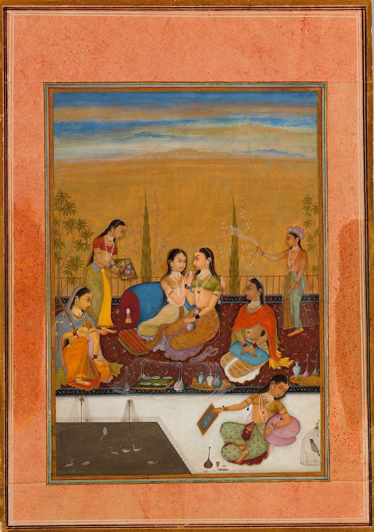 <strong>Ladies on a Terrace.</strong>&amp;nbsp;Painted by the artist Ruknuddin (active ca. 1650&amp;ndash;ca.&amp;nbsp;1697)&amp;nbsp;Rajasthan, kingdom of Bikaner, dated 1675&amp;nbsp;Opaque watercolor, black ink, and gold on paper; wide&amp;nbsp;light brown border with variously colored inner rules;&amp;nbsp;painting 7 5/8 x 5 5/16 in. (19.4 x 13.5 cm),&amp;nbsp;Promised Gift of the Kronos Collections, 2015