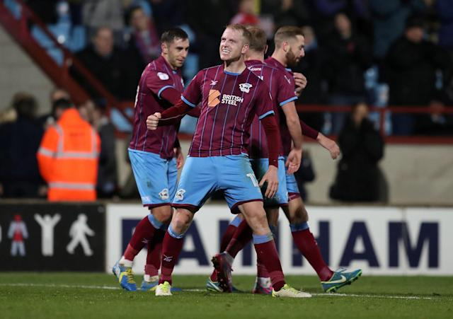 Soccer Football - League One - Scunthorpe United vs Bristol Rovers - Glanford Park, Scunthorpe, Britain - November 11, 2017 Scunthorpe United's Neal Bishop celebrates scoring their first goal Action Images/John Clifton