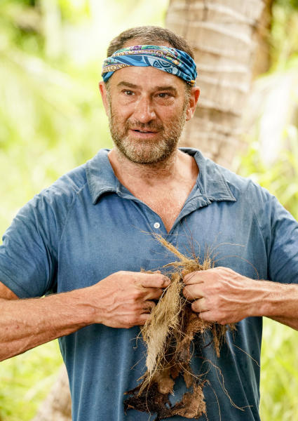 """In this undated photo provided by CBS is Dan Spilo, a contestant on the eighth and ninth episodes of """"Survivor: Island of Idols"""" airing Wednesday, Nov. 13, 2019, (8:00-10:00 PM, ET/PT), on the CBS Television Network. (Robert Voets/CBS Entertainment via AP)"""