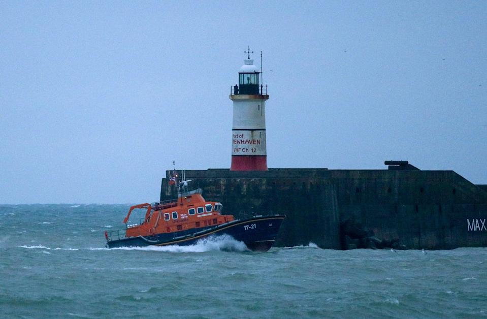 RNLI Lifeboat heads to Newhaven harbour after searching for the missing crew (PA)