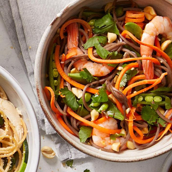 """<p>This healthy peanut shrimp noodle recipe comes together in a flash, thanks to cooked shrimp and a handful of crunchy veggies. Look for precooked cocktail shrimp in the seafood section of your grocery store. <a href=""""https://www.eatingwell.com/recipe/273197/thai-inspired-peanut-shrimp-noodles/"""" rel=""""nofollow noopener"""" target=""""_blank"""" data-ylk=""""slk:View Recipe"""" class=""""link rapid-noclick-resp"""">View Recipe</a></p>"""