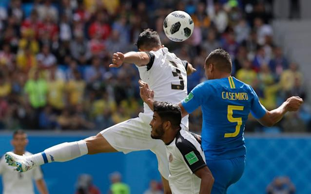 1:24PM 23 min Brazil 0-0 Costa Rica Neymar shoos everyone away and takes the free-kick himself, driving it low and flat diagonally from the right aimed for Thiago Silva peeling off round the back. He does connect with the header but bludgeons it wide. 1:22PM 21 min Brazil 0-0 Costa Rica Hardly seen anything of Gabriel Jesus and Paulinho. And Costa Rica look electric down the right. Here's Jesus now going up against Duarte 30m from goal and Duarte catches his knee. 1:21PM 19 min Brazil 0-0 Costa Rica Neymar scoops the ball over his head by the touchline and turns Venegas, sprints on and goes down when Venegas shoves him over to thwart further progress. Neymar takes the free-kick, like he did a minute ago, and Costa Rica defend the cross into the box very comfortably. A combination of good positioning, strength and poor delivery. Coutinho covers his mouth to complain to the referee - presumably that Venegas wasn't booked for his persistent fouling. Neymar tries to get away from Venegas Credit: REUTERS/Henry Romero 1:18PM 16 min Brazil 0-0 Costa Rica Neymar looks very rusty and trots from side to side, looking for a suitable berth from which he can influence the play. He is fouled on the left - doesn't look much but the cumulative effect of Switzerland's treatment and the couple of niggly ones here will effect him as he toils for match fitness after recovering from that broken foot. Miss: Brazil 0 - 0 Costa Rica (Celso Borges, 13 min) 1:15PM 14 min Brazil 0-0 Costa Rica Chance for Costa Rica! And a golden one too from the free-kick on halfway. Venegas slides a pass down the right for Gamboa, who won the free-kick from Neymar who fouled him after giving the ball away. Gamboa gambols into the space habitually vacated by Marcelo and pulls back a cross from the byline to the penalty spot to meet Borges' run perfectly but the midfielder screws his shot a metre wide of the left post. 1:12PM 12 min Brazil 0-0 Costa Rica Casemiro briefly leaves us to stem a nosebleed on the to
