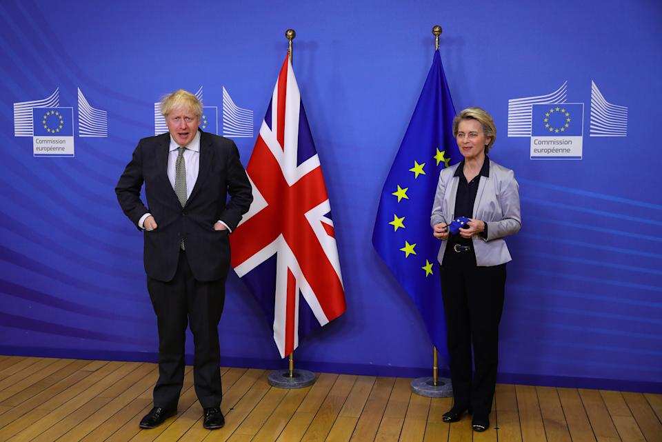 Prime Minister Boris Johnson in Brussels, Belgium, for a dinner with European Commission president Ursula von der Leyen where they will try to reach a breakthrough on a post-Brexit trade deal.