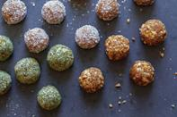 """<p>Chewy and sticky dates can satisfy a craving for sweets without artificial sugars. Dates are high in potassium, which is an electrolyte vital for the normal functioning of nerve and muscle cells. These date balls are almost like healthy truffles, and you can choose your adventure when it comes to the flavors. </p> <p><a href=""""https://www.thedailymeal.com/recipes/best-kinda-date-balls-recipe?referrer=yahoo&category=beauty_food&include_utm=1&utm_medium=referral&utm_source=yahoo&utm_campaign=feed"""" rel=""""nofollow noopener"""" target=""""_blank"""" data-ylk=""""slk:For the Best Kinda Date Balls recipe, click here."""" class=""""link rapid-noclick-resp"""">For the Best Kinda Date Balls recipe, click here.</a> </p>"""