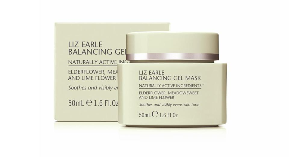 """<p>Liz Earle's <a rel=""""nofollow noopener"""" href=""""https://uk.lizearle.com/product/exfoliator-and-masks/balancing-gel-mask"""" target=""""_blank"""" data-ylk=""""slk:new gel mask"""" class=""""link rapid-noclick-resp"""">new gel mask</a> formula is great for de-puffing and revitalising the skin. Top tip: keep it in the fridge for a super cooling mask. It's the perfect antidote for the heatwave. <br></p>"""