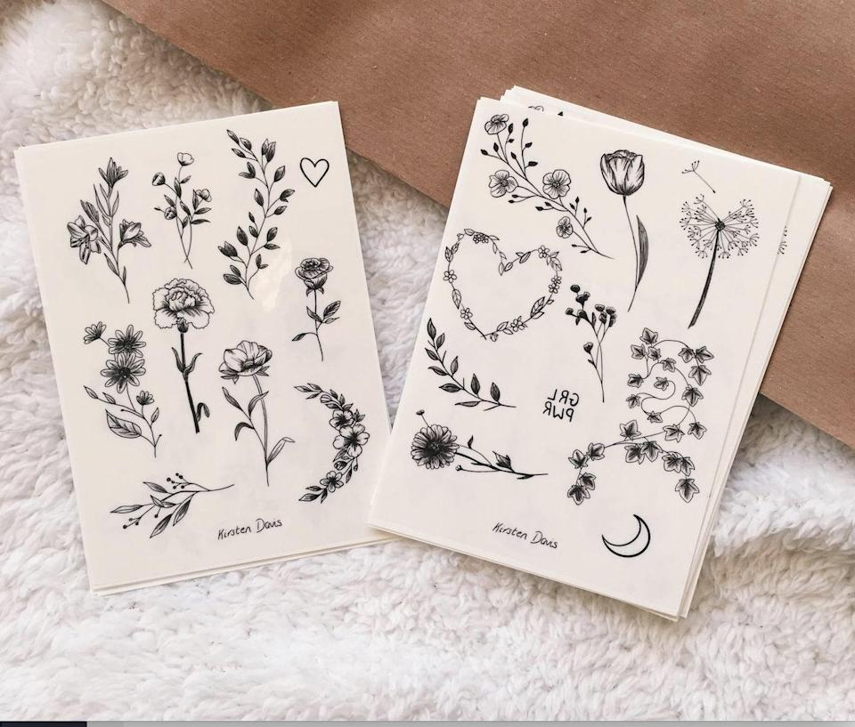 <p>Test out some new (fake) ink with this <span>Floral Temporary Tattoo Sheet</span> ($5).</p>