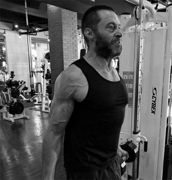 """Hugh Jackman shared this pic six weeks ago with some fitspo words of wisdom: """"Let'd do this!"""""""