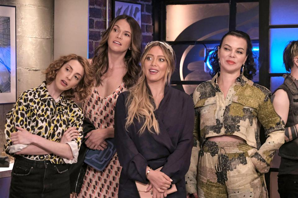 YOUNGER, from left: Molly Bernard, Sutton Foster, Hilary Duff, Debi Mazar, 'Girls on the Side', (Season 5, ep. 510, aired Aug. 14, 2018). TV Land / courtesy Everett Collection
