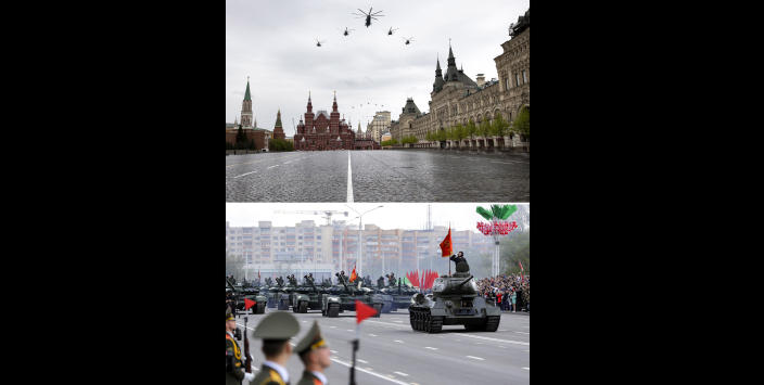 In this two photo combination, top photo showing Russian military helicopters fly over over almost empty Red Square to mark the 75th anniversary of the Nazi defeat in World War II in Moscow, Russia, Saturday, May 9, 2020, and bottom photo showing a column of Belarus Army tanks in motion during the Victory Day military parade marking the 75th anniversary of the allied victory over Nazi Germany, in Minsk, Belarus, Saturday, May 9, 2020. Russian President Vladimir Putin has marked Victory Day, the anniversary of the defeat of Nazi Germany in World War II, in a ceremony shorn of its usual military parade and pomp by the coronavirus pandemic. In neighboring Belarus, however, the ceremonies went ahead in full, with tens of thousands of people in the sort of proximity that has been almost unseen in the world for months. (AP Photo)