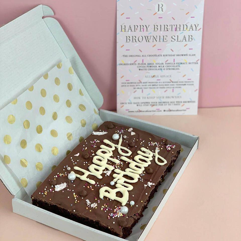 "<p>You can't beat a freshly-made brownie, especially if it's a giant slab (and personalised). This would make the perfect gift!</p><p><a class=""link rapid-noclick-resp"" href=""https://go.redirectingat.com?id=127X1599956&url=https%3A%2F%2Fwww.notonthehighstreet.com%2Frubythecakeartist%2Fproduct%2Fpersonalised-birthday-letterbox-brownie-slab%3FDGMKT%3DFID__TID_aud-372789095729%253Apla-318978180718_PID_945813_CRI_318978180718%26gclid%3DCjwKCAiA17P9BRB2EiwAMvwNyK0Xq1Ag1t3ENjS5XxtMpskjHRv5UzsE0MLEkMN8fL6h2n32rX4hMxoCx1UQAvD_BwE&sref=https%3A%2F%2Fwww.delish.com%2Fuk%2Ffood-news%2Fg34653549%2Fletterbox-brownies%2F"" rel=""nofollow noopener"" target=""_blank"" data-ylk=""slk:BUY NOW"">BUY NOW</a> <strong>£15.99</strong></p>"