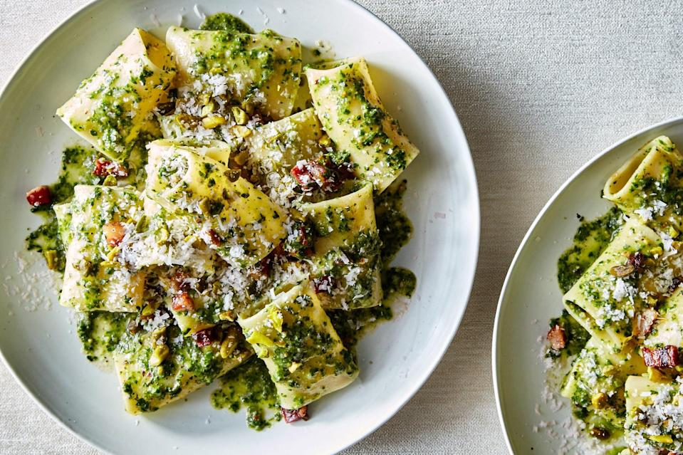 "Look for leafy ramp greens in the spring to make a pesto with oniony kick that turns rigatoni and cured pork into an unimaginably good (and easy) pasta dish. <a href=""https://www.epicurious.com/recipes/food/views/spring-pasta-with-ramp-pesto-and-guanciale?mbid=synd_yahoo_rss"" rel=""nofollow noopener"" target=""_blank"" data-ylk=""slk:See recipe."" class=""link rapid-noclick-resp"">See recipe.</a>"