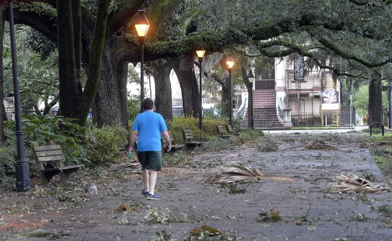 Limbs from trees covered the sidewalks around Forsyth Park Thursday morning, Sept. 5, 2019, following the passing of Hurricane Dorian. (Photo: Steve Bisson/Savannah Morning News via AP)