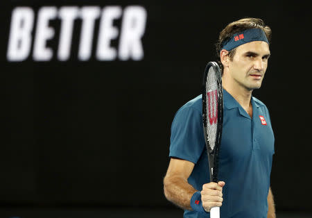 Tennis - Australian Open - First Round - Rod Laver Arena, Melbourne, Australia, January 14, 2019. Switzerland's Roger Federer reacts after winning the match against Uzbekistan's Denis Istomin. REUTERS/Kim Kyung-Hoon