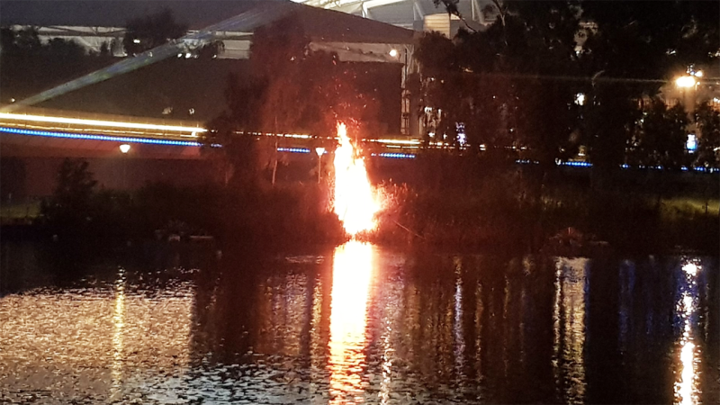 A fire, pictured here after it broke out near Adelaide Oval.