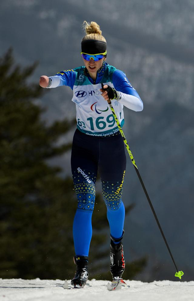 Bohdana Konashuk UKR races in the Cross-Country Skiing Standing Women's 1.5km Sprint Classic Semifinal at the Alpensia Biathlon Centre. The Paralympic Winter Games, PyeongChang, South Korea, Wednesday 14th March 2018. OIS/IOC/Thomas Lovelock/Handout via REUTERS
