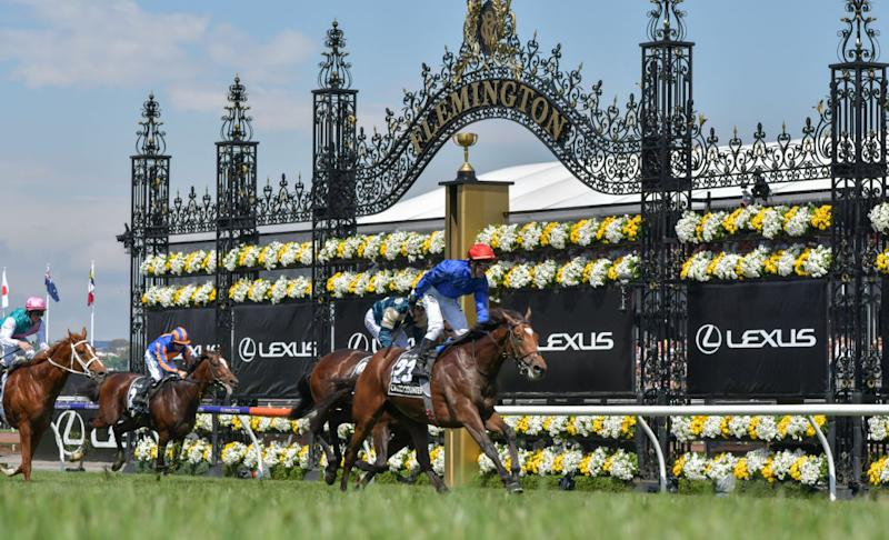Cross Counter ridden by Kerrin McEvoy wins the 2018 Melbourne Cup at Flemington.