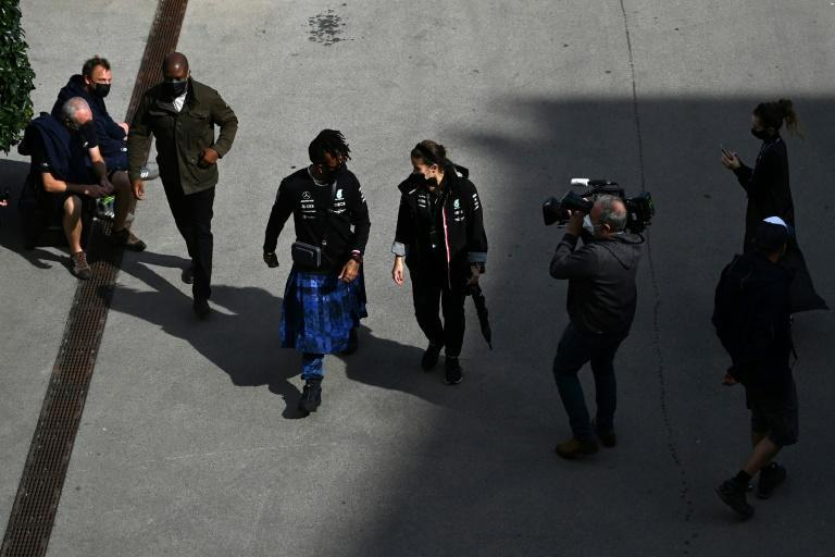Lewis Hamilton wore a kilt as he walked down the paddock of the Istanbul circuit (AFP/Ozan KOSE)