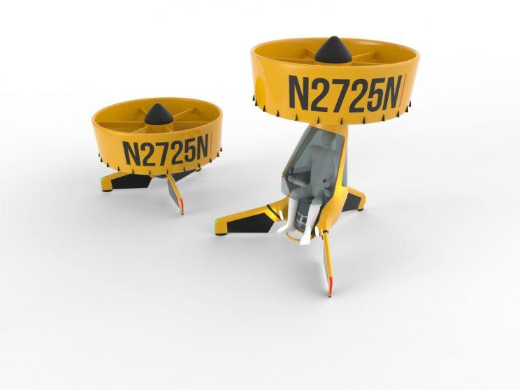 Rendering of Airvinci personal helicopter showing where the person would sit inside (supplied)