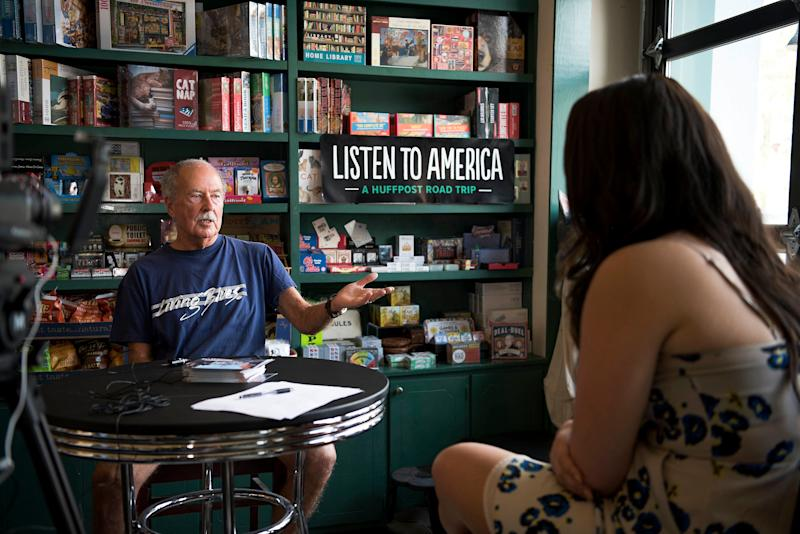 B.C. Crawford speaks with Jenna Amatulli during an interview in theOff Square Books store.
