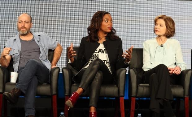Jessica Walter, right, appears alongside co-stars H. Jon Benjamin and Aisha Tyler during an Archer panel discussion on Jan. 18, 2015.