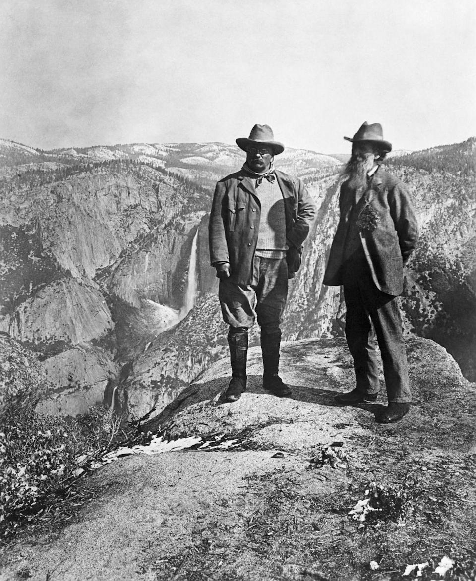 <p>Teddy Roosevelt poses with naturalist John Muir during a 1903 trip to Yosemite Valley in California. </p>