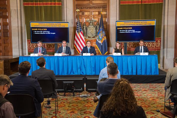Gov. Andrew Cuomo holds a briefing on coronavirus at the state Capitol on March 15, 2020.